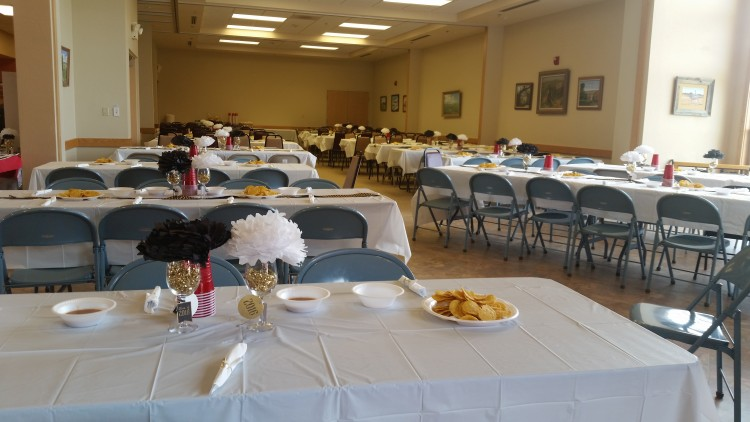 A sample of one way a private event might decorate. This family chose to bring extra tables for their graduation party.