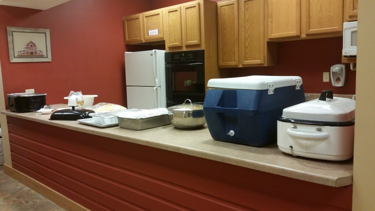 Our kitchen can easily accommodate banquet style meals.