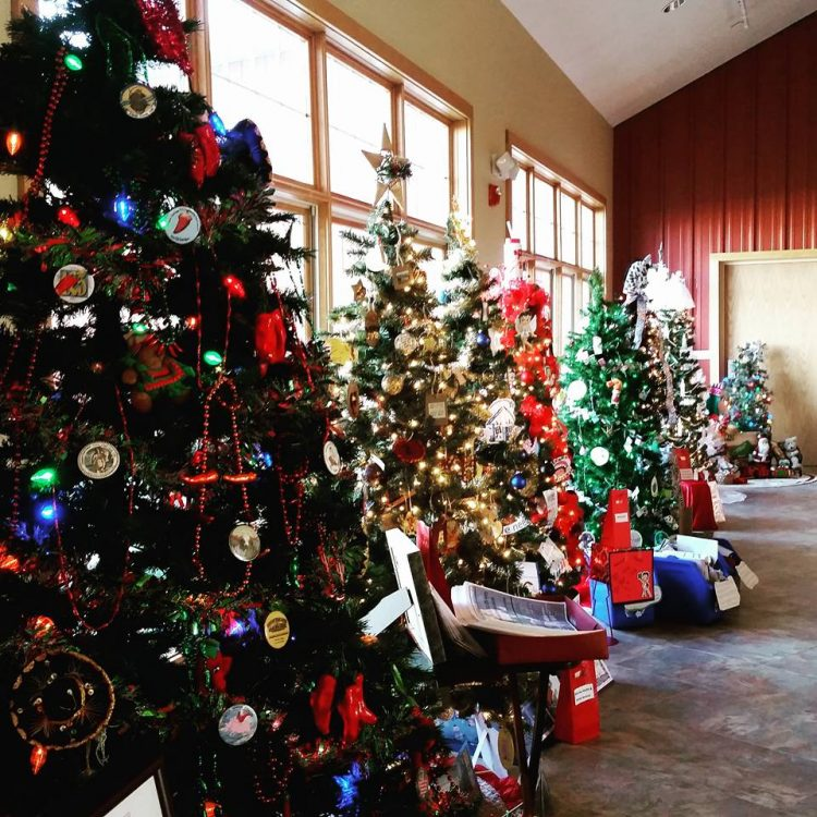 The museum lobby looks particularly festive with the Christmas trees.