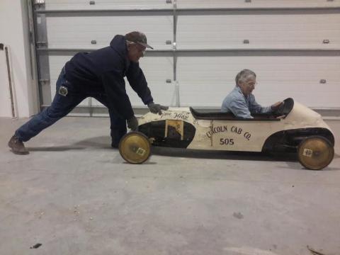 Two dedicated volunteers have fun on the job